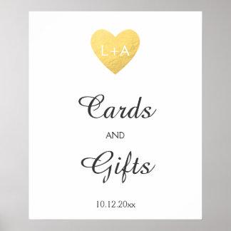 Cartes et cadeaux épousant le signe, coeur d'or de