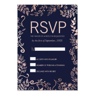 Cartes florales de bleu marine de l'or élégant carton d'invitation 8,89 cm x 12,70 cm