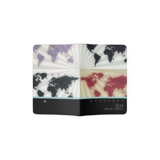 cartes graphiques du monde avec le nom et les protège-passeport