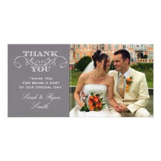Cartes grises modernes de Merci de photo de mariag Photocarte Customisée