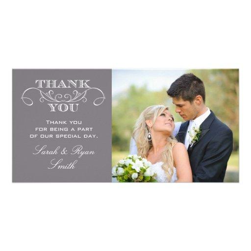 Cartes grises modernes de Merci de photo de mariag Modèle Pour Photocarte