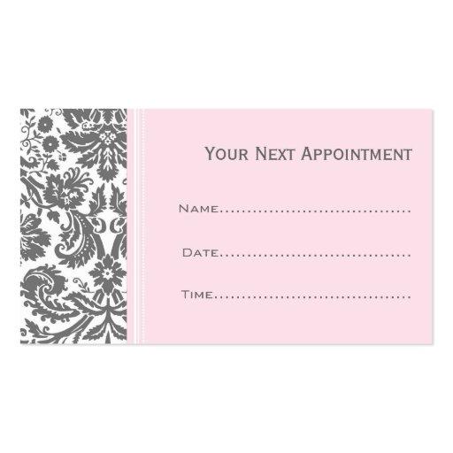 Cartes grises roses de rendez-vous de salon de dam cartes de visite personnelles