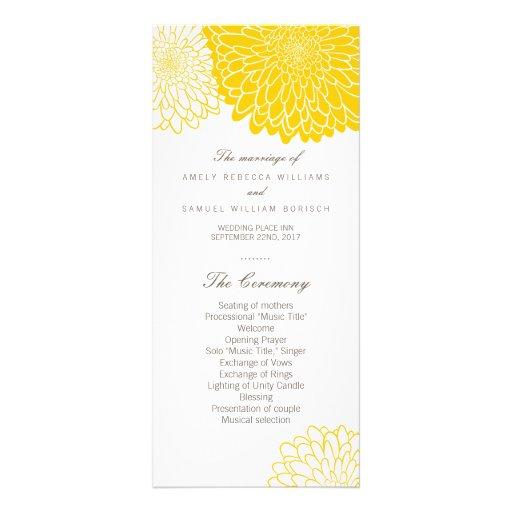 Cartes jaunes de support de programme de mariage modèle de carte double