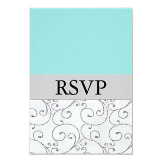 Cartes les épousant bleues argentées de réponse de carton d'invitation 8,89 cm x 12,70 cm