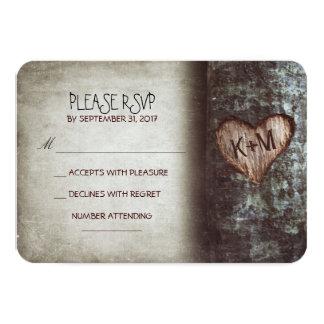 Cartes les épousant rustiques du vieil arbre RSVP Cartons D'invitation