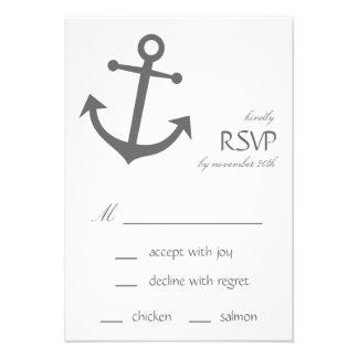 Cartes nautiques de l ancre RSVP de bateau gris-f Invitations Personnalisables