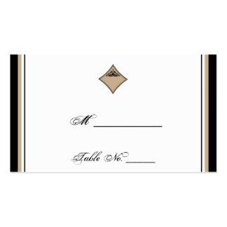 Cartes noires et bronzages d'endroit de mariage de carte de visite standard