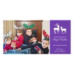 Cartes photos de renne de Joyeux Noël (pourpres) Modèle Pour Photocarte