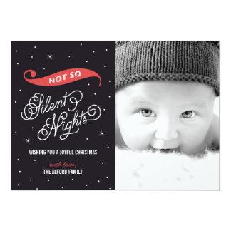 Cartes photos pas aussi silencieux de Noël de nuit Carton D'invitation