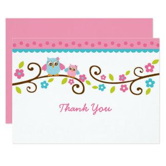 Cartes plates de Merci de hibou rose mignon Carton D'invitation 12,7 Cm X 17,78 Cm