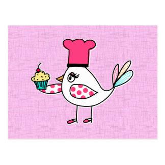 Cartes postales de chef de pâtisserie d'oiseau