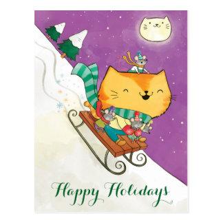 Cartes postales du traîneau du chat mignon de Noël