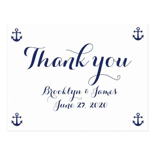 Cartes postales nautiques de Merci de mariage de b