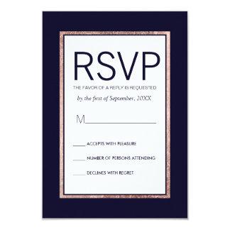 Cartes rayées par or rose simple du bleu marine carton d'invitation 8,89 cm x 12,70 cm