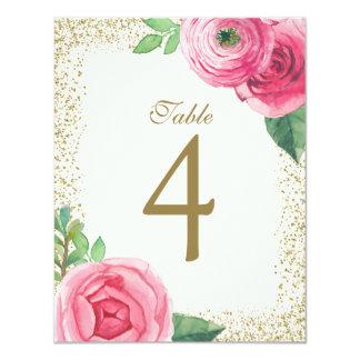 Cartes roses personnalisables de nombre de Tableau Carton D'invitation 10,79 Cm X 13,97 Cm