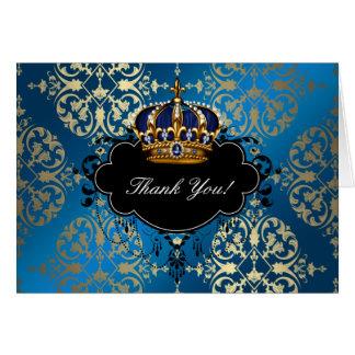Cartes royales de Merci de couronne de bleu marine
