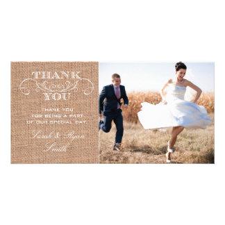 Cartes rustiques de Merci de photo de mariage d im Photocarte Customisée