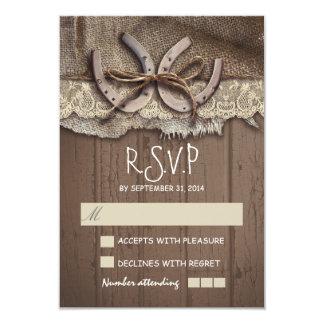 Cartes rustiques du mariage campagnard RSVP Carton D'invitation 8,89 Cm X 12,70 Cm