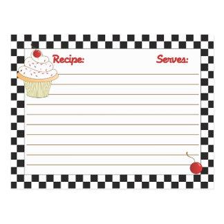 Cartes transmissibles de recette de petit gâteau d carte postale