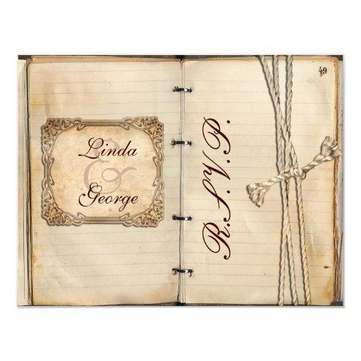cartes vintages de rsvp de mariage carton d'invitation 10,79 cm x 13,97 cm