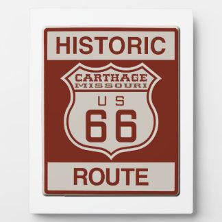 Carthage Route 66 Plaque