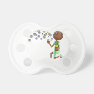 Cartoon African American Boy Blowing Bubbles Baby Pacifier