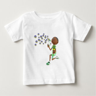 Cartoon African American Boy Blowing Bubbles Baby T-Shirt