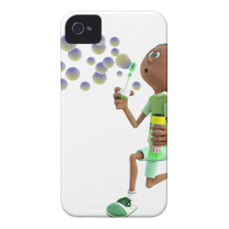 Cartoon African American Boy Blowing Bubbles iPhone 4 Cover