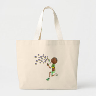 Cartoon African American Boy Blowing Bubbles Large Tote Bag