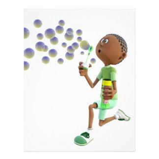 Cartoon African American Boy Blowing Bubbles Letterhead