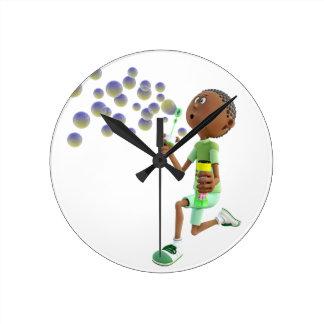 Cartoon African American Boy Blowing Bubbles Round Clock