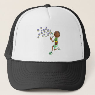 Cartoon African American Boy Blowing Bubbles Trucker Hat
