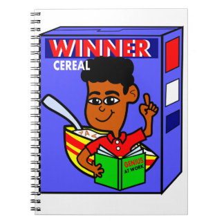 Cartoon African American Boy on Cereal Box Spiral Notebooks