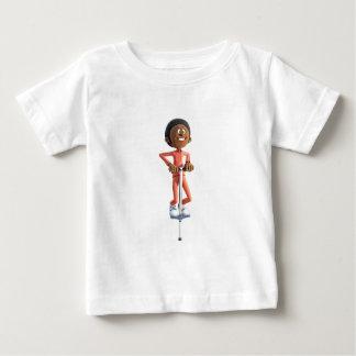 Cartoon African American Boy Using A Pogo Stick Baby T-Shirt