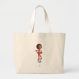 Cartoon African American Boy Using A Pogo Stick Large Tote Bag