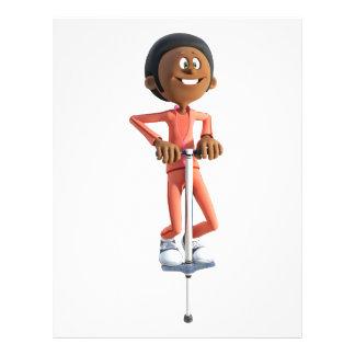 Cartoon African American Boy Using A Pogo Stick Letterhead