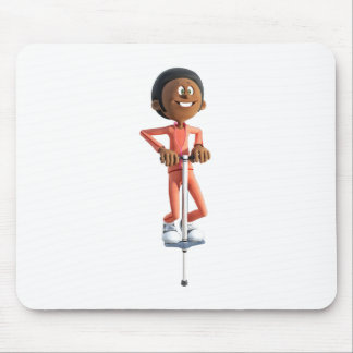 Cartoon African American Boy Using A Pogo Stick Mouse Pad