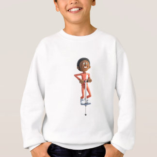 Cartoon African American Boy Using A Pogo Stick Sweatshirt