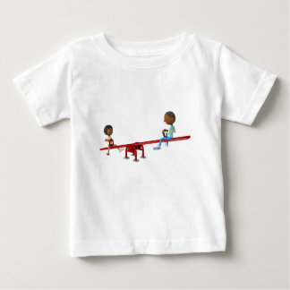 Cartoon African American Children on a See Saw Baby T-Shirt