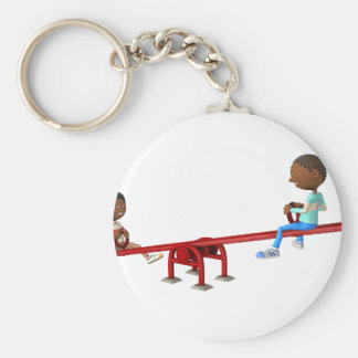 Cartoon African American Children on a See Saw Basic Round Button Keychain