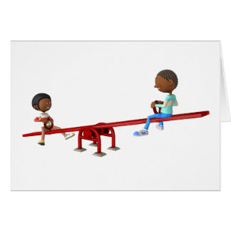 Cartoon African American Children on a See Saw Card