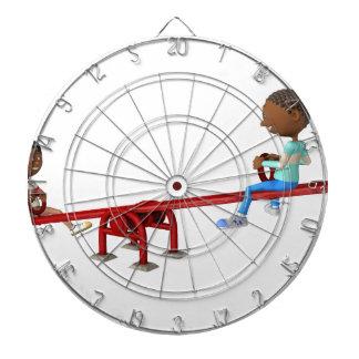 Cartoon African American Children on a See Saw Dartboard