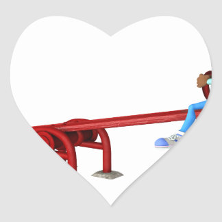Cartoon African American Children on a See Saw Heart Sticker