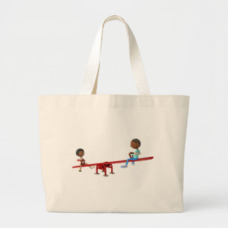 Cartoon African American Children on a See Saw Large Tote Bag