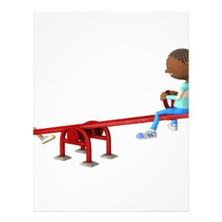 Cartoon African American Children on a See Saw Letterhead