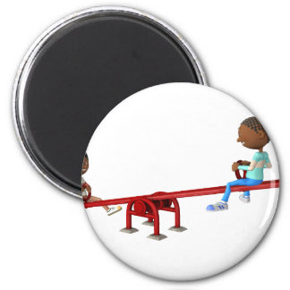 Cartoon African American Children on a See Saw Magnet