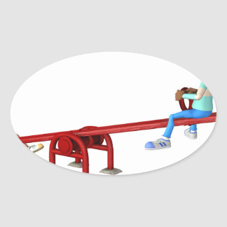 Cartoon African American Children on a See Saw Oval Sticker