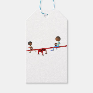 Cartoon African American Children on a See Saw Pack Of Gift Tags