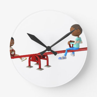 Cartoon African American Children on a See Saw Round Clock