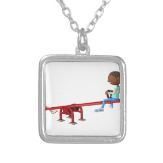 Cartoon African American Children on a See Saw Silver Plated Necklace
